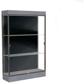 """Edge Lighted Floor Case, Black Back, Dark Bronze Frame, 6"""" Carbon Mesh Base, 48""""W x 76""""H x 20""""D"""