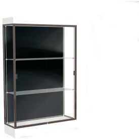 "Edge Lighted Floor Case, Black Back, Dark Bronze Frame, 6"" Frosty White Base, 48""W x 76""H x 20""D"