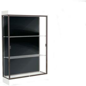 """Edge Lighted Floor Case, Black Back, Dark Bronze Frame, 6"""" Frosty White Base, 48""""W x 76""""H x 20""""D"""