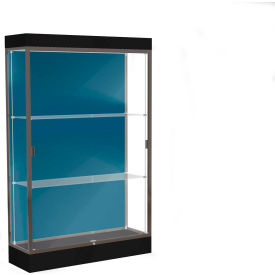 "Edge Lighted Floor Case, Blue Steel Back, Dark Bronze Frame, 6"" Black Base, 48""W x 76""H x 20""D"