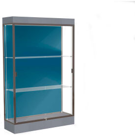 "Edge Lighted Floor Case, Blue Steel Back, Dark Bronze Frame, 6"" Carbon Mesh Base, 48""W x 76""H x 20""D"