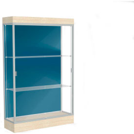 "Edge Lighted Floor Case, Blue Steel Back, Satin Frame, 6"" Chardonnay Base, 48""W x 76""H x 20""D"