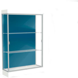 "Edge Lighted Floor Case, Blue Steel Back, Satin Frame, 6"" Frosty White Base, 48""W x 76""H x 20""D"