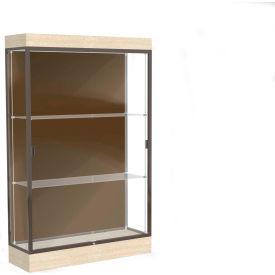"Edge Lighted Floor Case, Chocolate Back, Dark Bronze Frame, 6"" Chardonnay Base, 48""W x 76""H x 20""D"