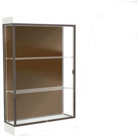 "Edge Lighted Floor Case, Chocolate Back, Dark Bronze Frame, 6"" Frosty White Base, 48""W x 76""H x 20""D"