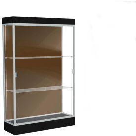 "Edge Lighted Floor Case, Chocolate Back, Satin Frame, 6"" Black Base, 48""W x 76""H x 20""D"