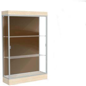 """Edge Lighted Floor Case, Chocolate Back, Satin Frame, 6"""" Chardonnay Base, 48""""W x 76""""H x 20""""D"""