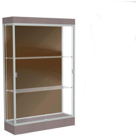 "Edge Lighted Floor Case, Chocolate Back, Satin Frame, 6"" Morro Zephyr Base, 48""W x 76""H x 20""D"