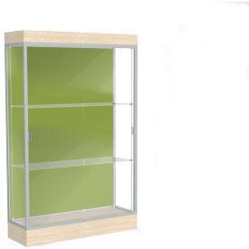 "Edge Lighted Floor Case, Pale Green Back, Satin Frame, 6"" Chardonnay Base, 48""W x 76""H x 20""D"