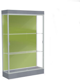 "Edge Lighted Floor Case, Pale Green Back, Satin Frame, 6"" Carbon Mesh Base, 48""W x 76""H x 20""D"