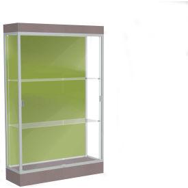 """Edge Lighted Floor Case, Pale Green Back, Satin Frame, 6"""" Morro Zephyr Base, 48""""W x 76""""H x 20""""D"""