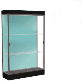 """Edge Lighted Floor Case, Pewter Back, Dark Bronze Frame, 6"""" Black Base, 48""""W x 76""""H x 20""""D"""