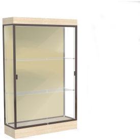 "Edge Lighted Floor Case, Silk Back, Dark Bronze Frame, 6"" Chardonnay Base, 48""W x 76""H x 20""D"