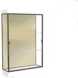 """Edge Lighted Floor Case, Silk Back, Dark Bronze Frame, 6"""" Frosty White Base, 48""""W x 76""""H x 20""""D"""