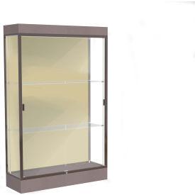 """Edge Lighted Floor Case, Silk Back, Dark Bronze Frame, 6"""" Morro Zephyr Base, 48""""W x 76""""H x 20""""D"""