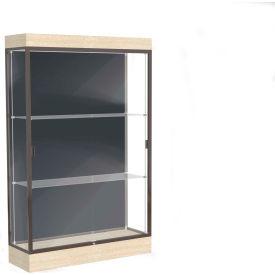 "Edge Lighted Floor Case, Slate Back, Dark Bronze Frame, 6"" Chardonnay Base, 48""W x 76""H x 20""D"