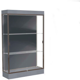 """Edge Lighted Floor Case, Slate Back, Dark Bronze Frame, 6"""" Carbon Mesh Base, 48""""W x 76""""H x 20""""D"""