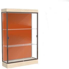 "Edge Lighted Floor Case, Terra Cotta Back, Dark Bronze Frame, 6"" Chardonnay Base, 48""W x 76""H x 20""D"