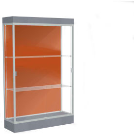 "Edge Lighted Floor Case, Terra Cotta Back, Satin Frame, 6"" Carbon Mesh Base, 48""W x 76""H x 20""D"