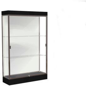 """Edge Lighted Floor Case, White Back, Dark Bronze Frame, 6"""" Black Base, 48""""W x 76""""H x 20""""D"""