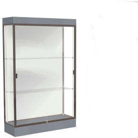 "Edge Lighted Floor Case, White Back, Dark Bronze Frame, 6"" Carbon Mesh Base, 48""W x 76""H x 20""D"