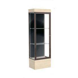 "Edge Lighted Floor Case, Black Back, Dark Bronze Frame, 12"" Chardonnay Base, 24""W x 76""H x 20""D"