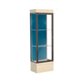 "Edge Lighted Floor Case, Blue Steel Back, Dark Bronze Frame, 12"" Chardonnay Base, 24""W x 76""H x 20""D"