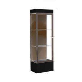 "Edge Lighted Floor Case, Chocolate Back, Dark Bronze Frame, 12"" Black Base, 24""W x 76""H x 20""D"