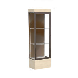 "Edge Lighted Floor Case, Chocolate Back, Dark Bronze Frame, 12"" Chardonnay Base, 24""W x 76""H x 20""D"