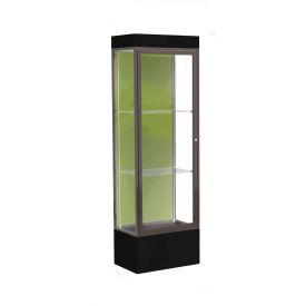 """Edge Lighted Floor Case, Pale Green Back, Dark Bronze Frame, 12"""" Black Base, 24""""W x 76""""H x 20""""D"""