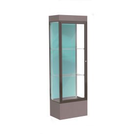 "Edge Lighted Floor Case, Pewter Back, Dark Bronze Frame, 12"" Morro Zephyr Base, 24""W x 76""H x 20""D"