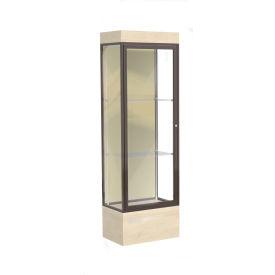 "Edge Lighted Floor Case, Silk Back, Dark Bronze Frame, 12"" Chardonnay Base, 24""W x 76""H x 20""D"