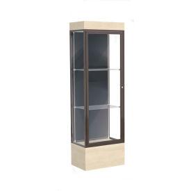 "Edge Lighted Floor Case, Slate Back, Dark Bronze Frame, 12"" Chardonnay Base, 24""W x 76""H x 20""D"