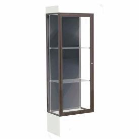 """Edge Lighted Floor Case, Slate Back, Dark Bronze Frame, 12"""" Frosty White Base, 24""""W x 76""""H x 20""""D"""