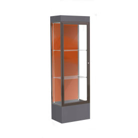 "Edge Lighted Floor Case, Terra Cotta Back, Dark Bronze Frame, 12"" Black Base, 24""W x 76""H x 20""D"