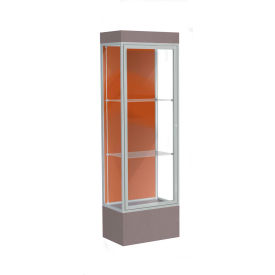 "Edge Lighted Floor Case, Terra Cotta Back, Satin Frame, 12"" Morro Zephyr Base, 24""W x 76""H x 20""D"