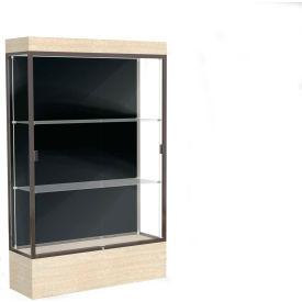 "Edge Lighted Floor Case, Black Back, Dark Bronze Frame, 12"" Chardonnay Base, 48""W x 76""H x 20""D"