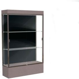 """Edge Lighted Floor Case, Black Back, Dark Bronze Frame, 12"""" Morro Zephyr Base, 48""""W x 76""""H x 20""""D"""