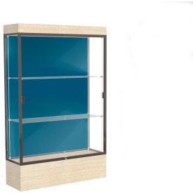 "Edge Lighted Floor Case, Blue Steel Back, Dark Bronze Frame, 12"" Chardonnay Base, 48""W x 76""H x 20""D"