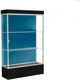 "Edge Lighted Floor Case, Blue Steel Back, Satin Frame, 12"" Black Base, 48""W x 76""H x 20""D"