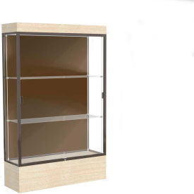 "Edge Lighted Floor Case, Chocolate Back, Dark Bronze Frame, 12"" Chardonnay Base, 48""W x 76""H x 20""D"