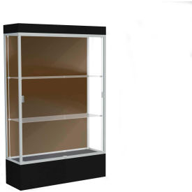 "Edge Lighted Floor Case, Chocolate Back, Satin Frame, 12"" Black Base, 48""W x 76""H x 20""D"
