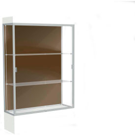 "Edge Lighted Floor Case, Chocolate Back, Satin Frame, 12"" Frosty White Base, 48""W x 76""H x 20""D"