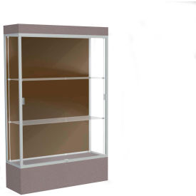 "Edge Lighted Floor Case, Chocolate Back, Satin Frame, 12"" Morro Zephyr Base, 48""W x 76""H x 20""D"