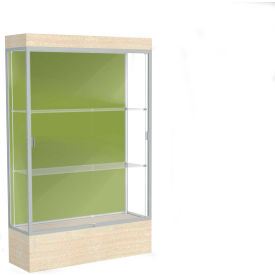 "Edge Lighted Floor Case, Pale Green Back, Satin Frame, 12"" Chardonnay Base, 48""W x 76""H x 20""D"