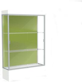 "Edge Lighted Floor Case, Pale Green Back, Satin Frame, 12"" Frosty White Base, 48""W x 76""H x 20""D"