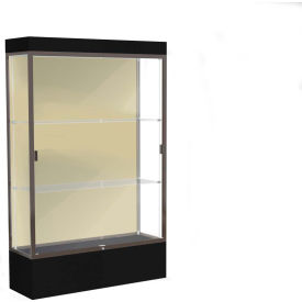 "Edge Lighted Floor Case, Silk Back, Dark Bronze Frame, 12"" Black Base, 48""W x 76""H x 20""D"