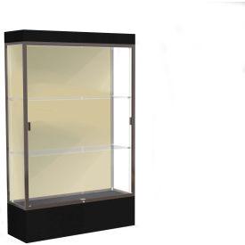 "Edge Lighted Floor Case, Silk Back, Dark Bronze Frame, 12"" Black Base, 48""W x 76""H x 20""D"