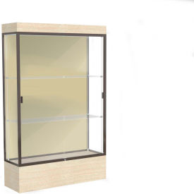 "Edge Lighted Floor Case, Silk Back, Dark Bronze Frame, 12"" Chardonnay Base, 48""W x 76""H x 20""D"