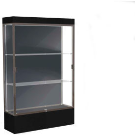 """Edge Lighted Floor Case, Slate Back, Dark Bronze Frame, 12"""" Black Base, 48""""W x 76""""H x 20""""D"""